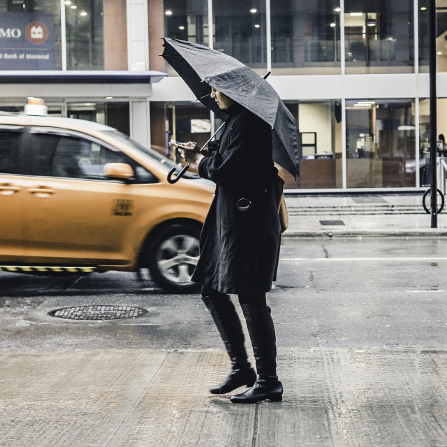 """texting in the rain"" stock image"