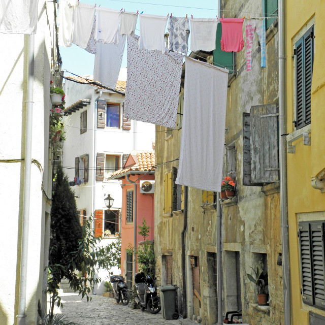 """""""Rovinj, streets with drying the washed textile , 6"""" stock image"""