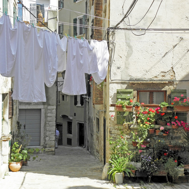 """""""Rovinj, streets with drying the washed textile , 8"""" stock image"""