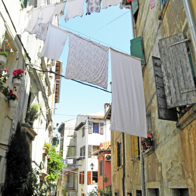 """""""Rovinj, streets with drying the washed textile , 3"""" stock image"""