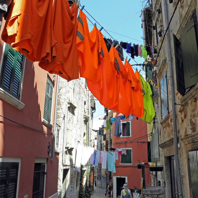 """""""Rovinj, streets with drying the washed textile , 1"""" stock image"""