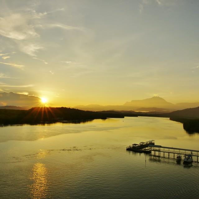 """Sunrise at Mengkabong River"" stock image"
