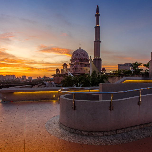 """Sunset at Putra Mosque"" stock image"