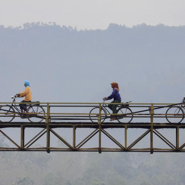 """Passing the Bridge"" stock image"