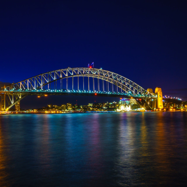 """Sydney harbor bridge at night"" stock image"
