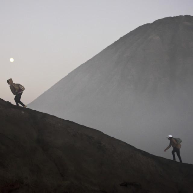 """""""Climbing Mount Bromo"""" stock image"""