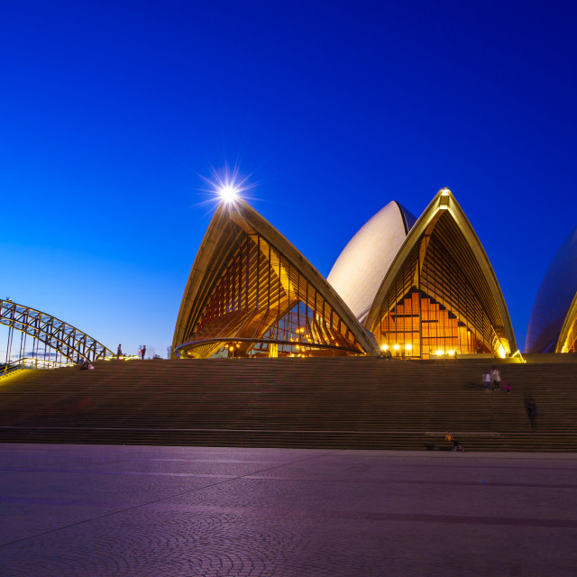 """The Sydney Opera House at night"" stock image"