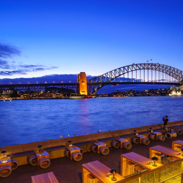 """Sydney harbor bridge in twilight"" stock image"
