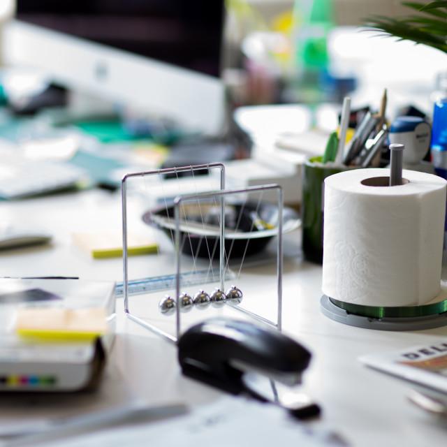 """desk clutter"" stock image"
