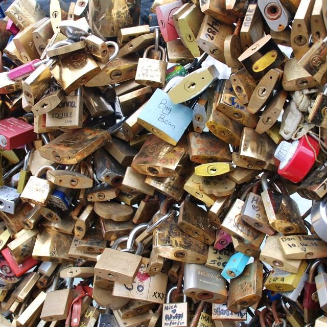 """Love locked up, Paris"" stock image"