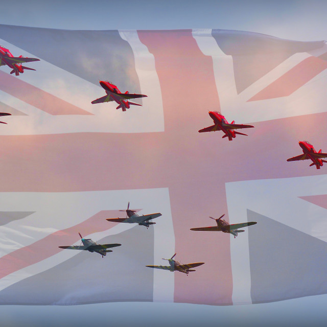 """The Royal Air Force Red Arrows"" stock image"