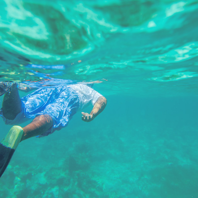 """Young man free diving and snorkelling on a reef near Punta Cana,"" stock image"