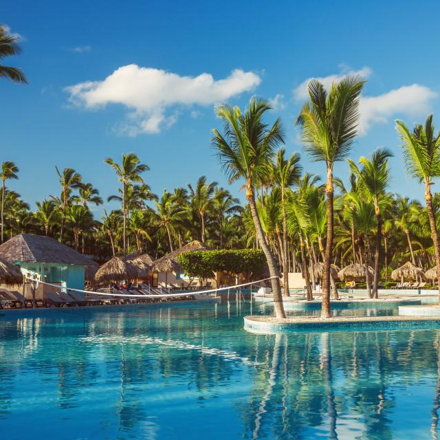 """""""Beautiful swimming pool in tropical resort , Punta Cana, Dominic"""" stock image"""