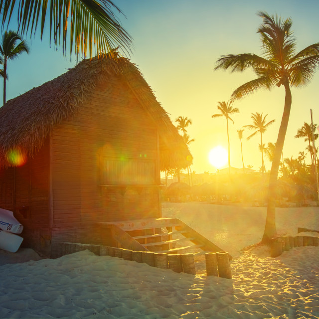 """""""Sunset on the beach of Caribbean sea, Dominican Republic"""" stock image"""