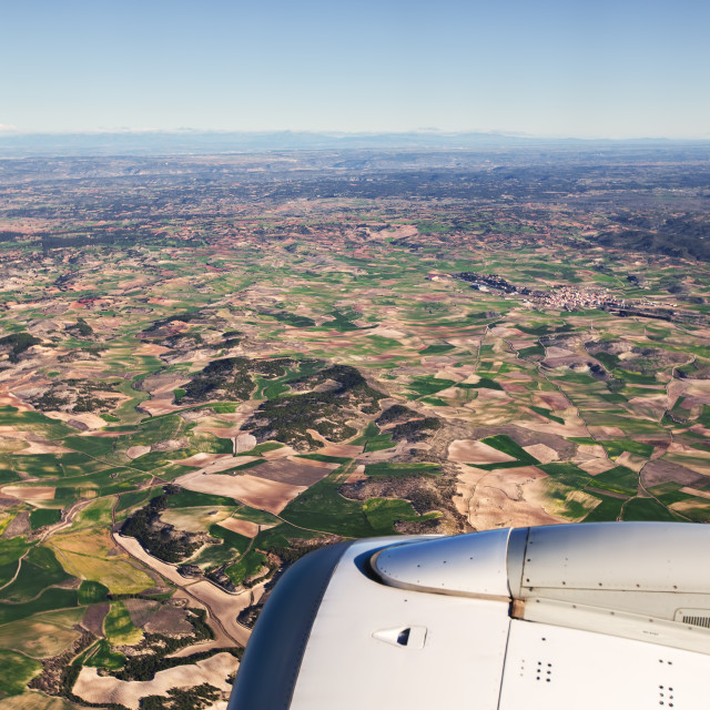 """""""Aerial view of landscape from airplane near Madrid, Spain"""" stock image"""