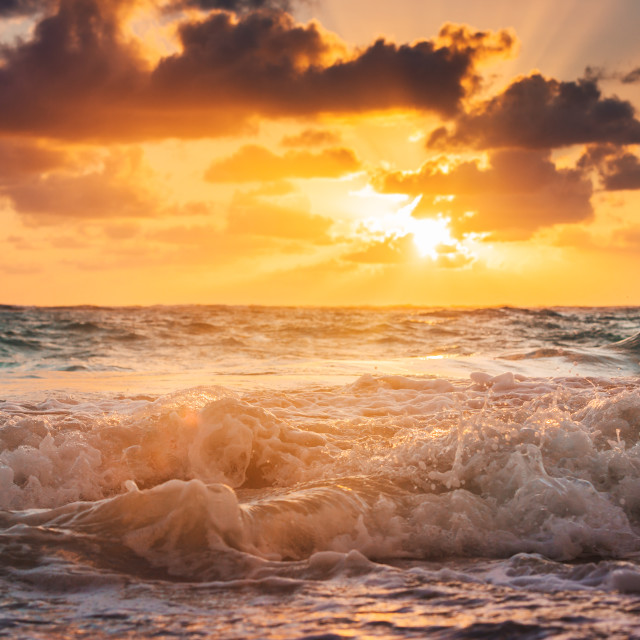 """Beautiful cloudscape over the caribbean sea"" stock image"