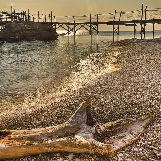 """Trabocco (fishing house) Punta le Morge beach Torino di Sangro Abruzzo Italy"" stock image"