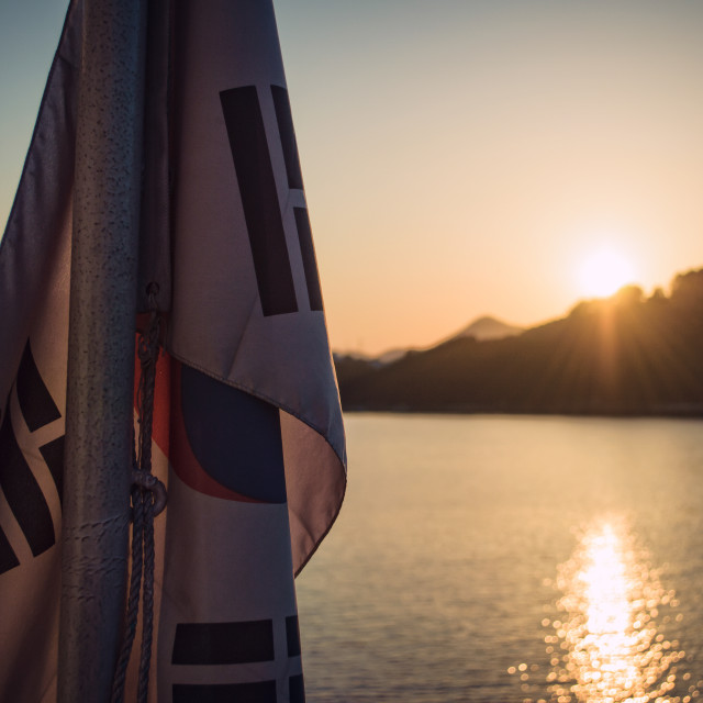 """Korean Flag at Sunset"" stock image"