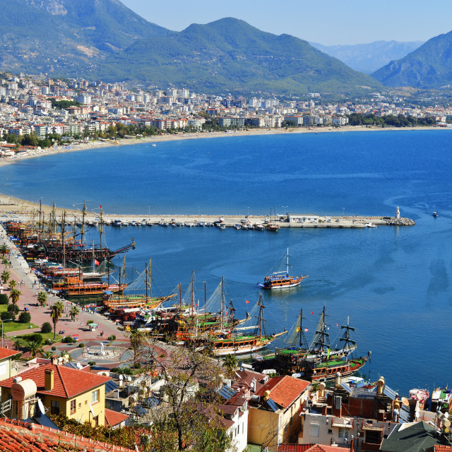 """View of Alanya harbor from Alanya peninsula. Turkish Riviera"" stock image"
