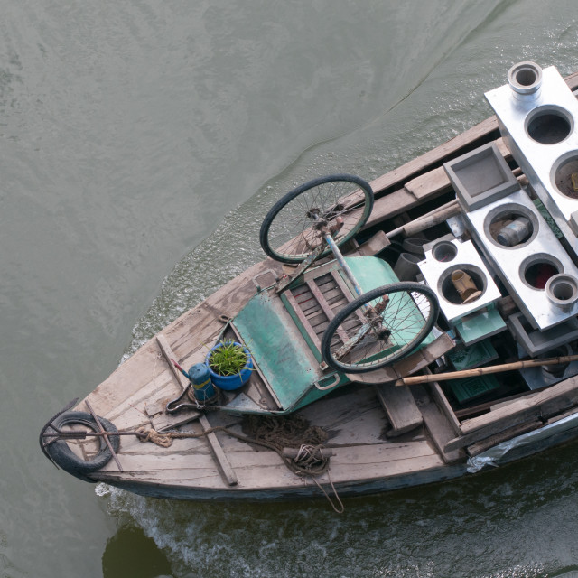 """""""Cargo boat floating on the Mekong river"""" stock image"""