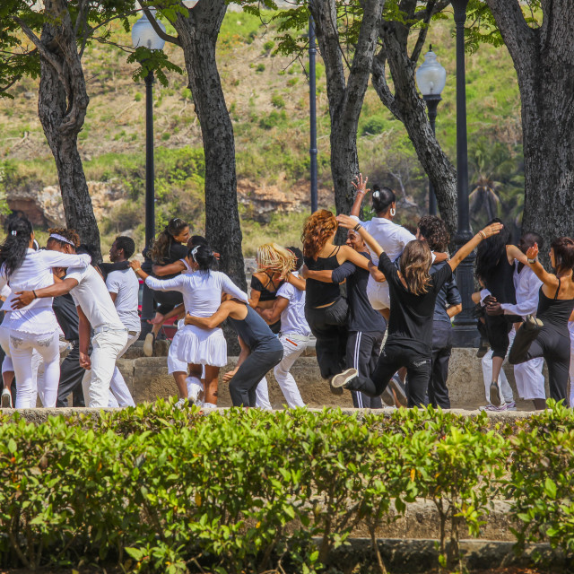 """Young people dancing in a park in Havanna, Cuba"" stock image"