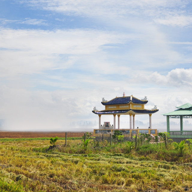 """family tomb amongst rice fields"" stock image"