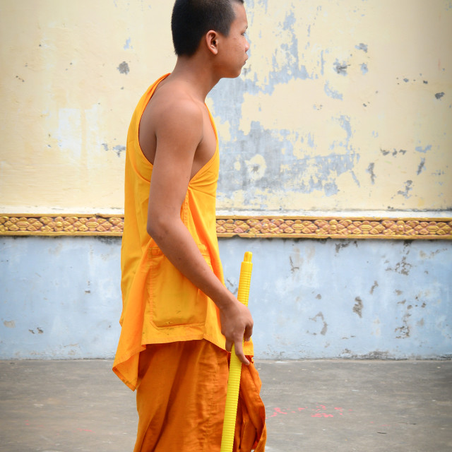 """""""Buddhist monks at an ancient Khmer temple"""" stock image"""