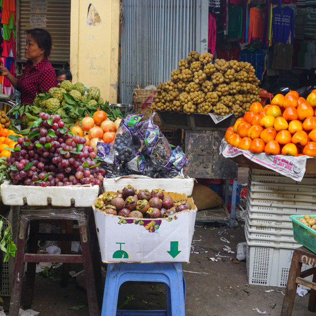 """""""Fruit stalls at a local market in Hanoi"""" stock image"""