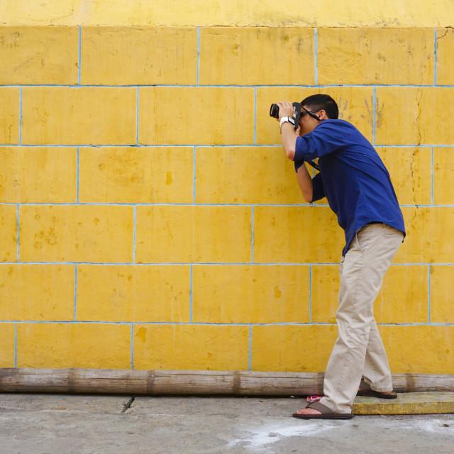 """""""Tourist taking photos"""" stock image"""