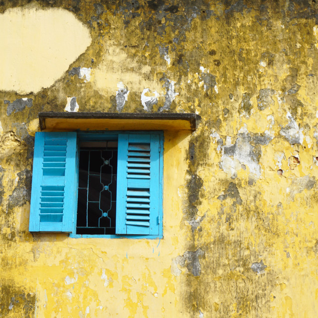 """""""Blue window on old dirty wall"""" stock image"""