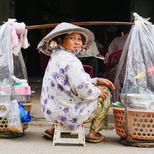 """Vietnamese woman street vendors in Saigon"" stock image"