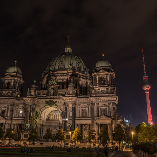 """""""Berlin Cathedral at Night"""" stock image"""