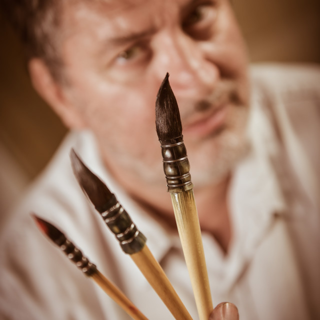 """""""Portrait of a painter in his workshop"""" stock image"""