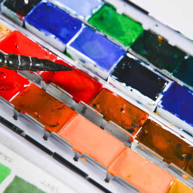 """""""Box of watercolors with one brushe"""" stock image"""