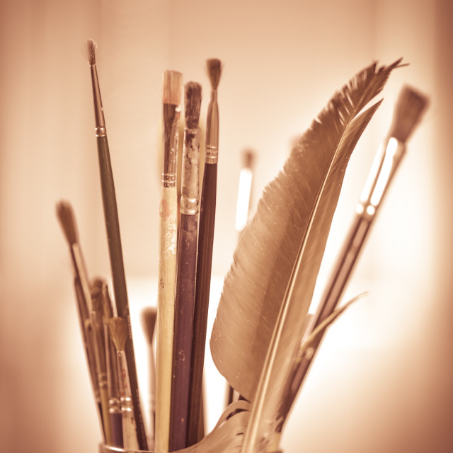 """""""Paint brushes in the pot all kinds of brushes"""" stock image"""