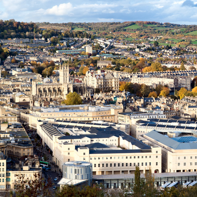 """Panoramic view over the City of Bath, uk"" stock image"