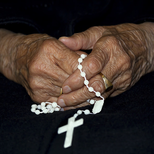 """Hands with rosary"" stock image"