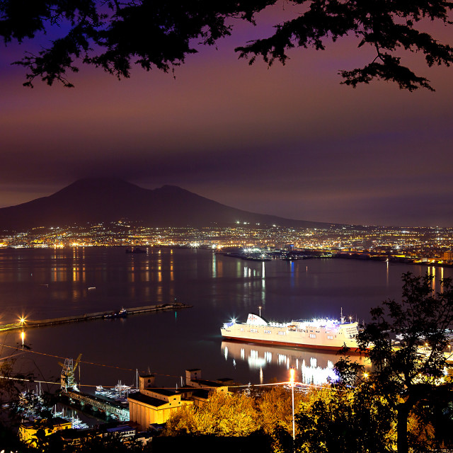 """Night View of Naples and Mount Vesuvius from the panoramic road Castellammare di Stabia"" stock image"