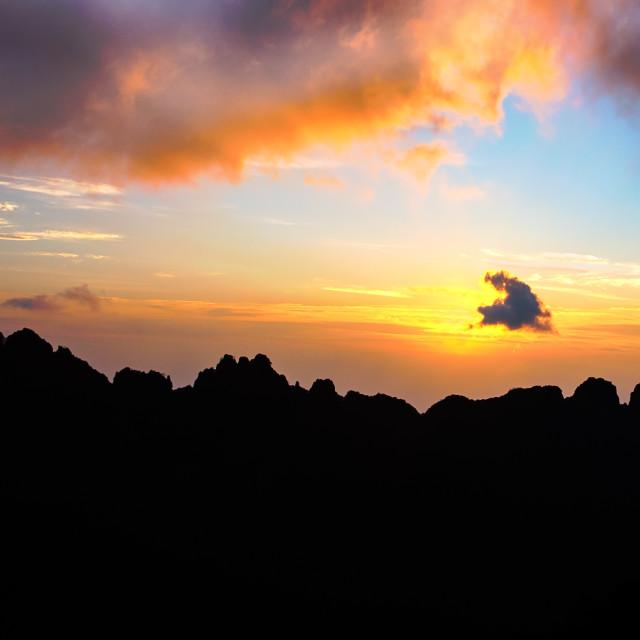 """Sunset at Huangshan"" stock image"