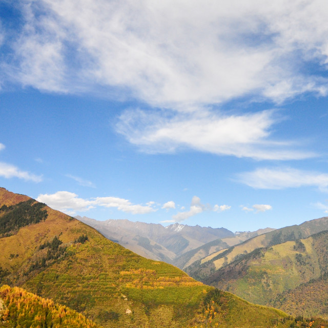 """""""View of high mountains in Sichuan"""" stock image"""