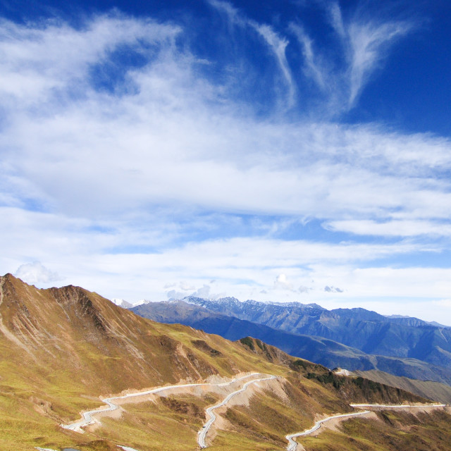 """""""Mountain landscape with white sutra streamer scattered on the gr"""" stock image"""