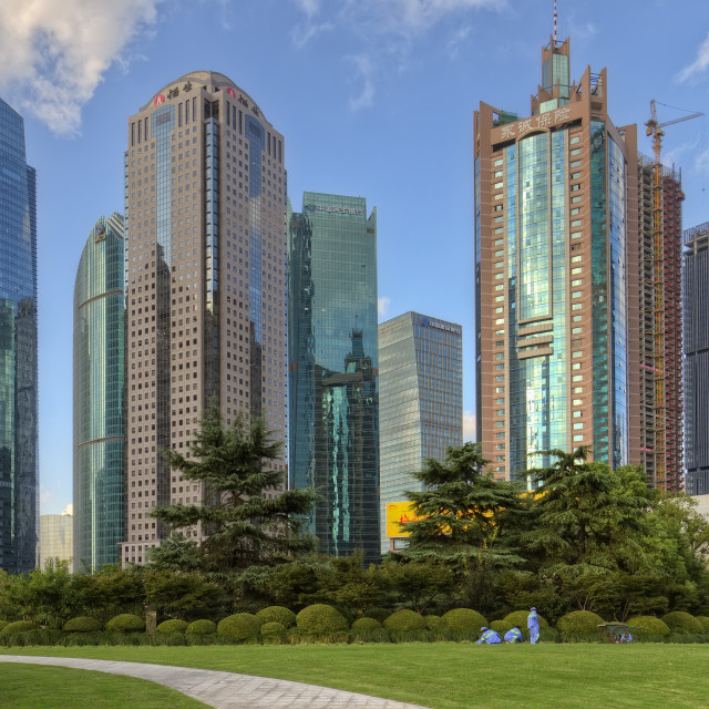 """""""Lujiazui park in Pudong Shanghai with view on his high rise buildings."""" stock image"""