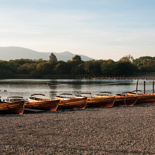 """Rowing Boats Derwentwater"" stock image"