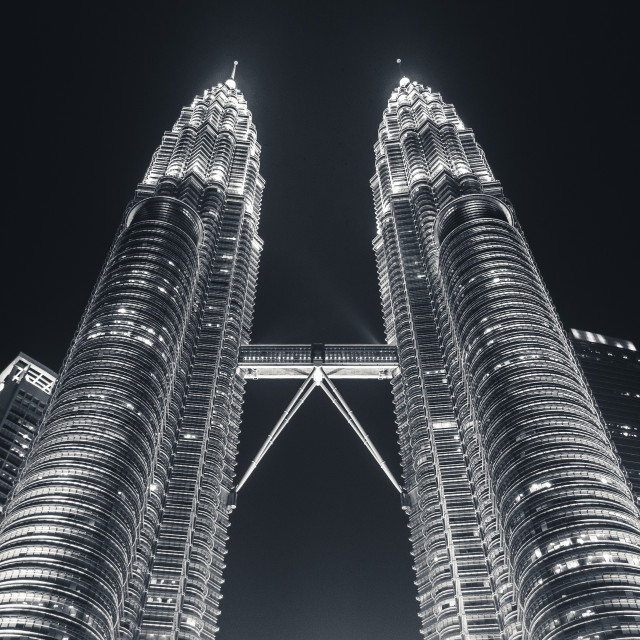 """Petronas Twin Towers at night in Black and White"" stock image"