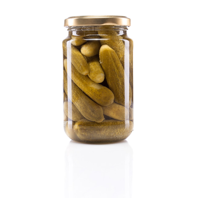 """Small jar of gherkins"" stock image"