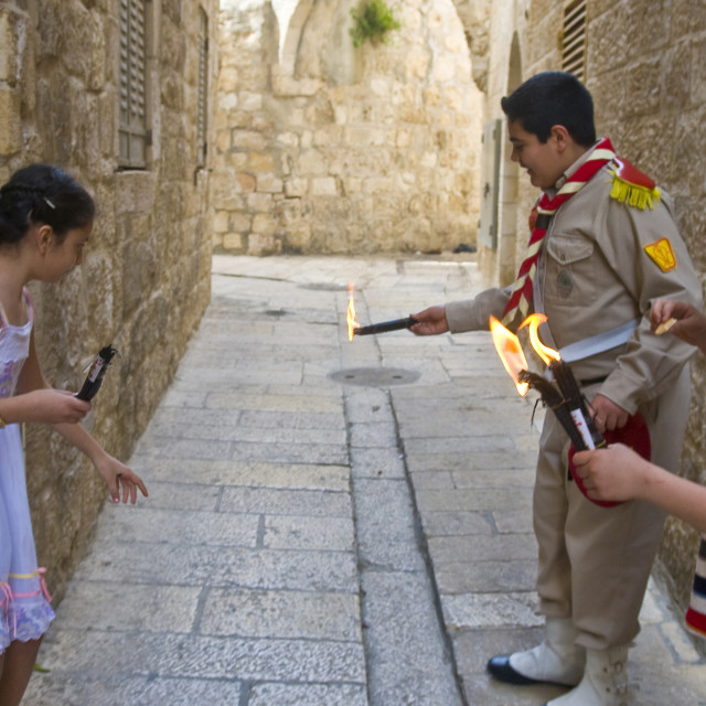 """""""Palestinian children holds candeles"""" stock image"""