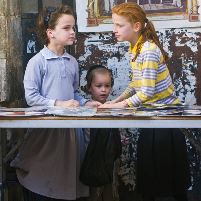 """Jewish ultra orthodox children"" stock image"