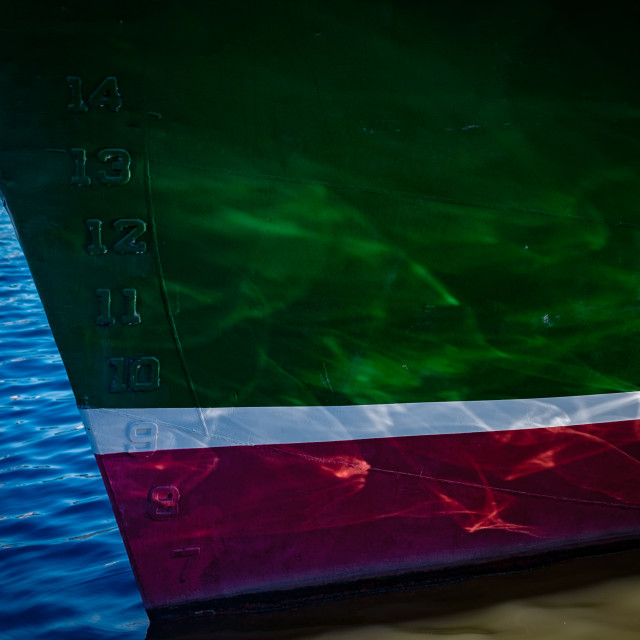 """""""Reflections on a boat hull"""" stock image"""