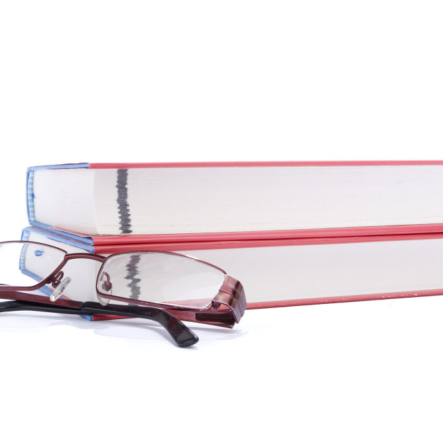 """Two books and eyeglasses"" stock image"