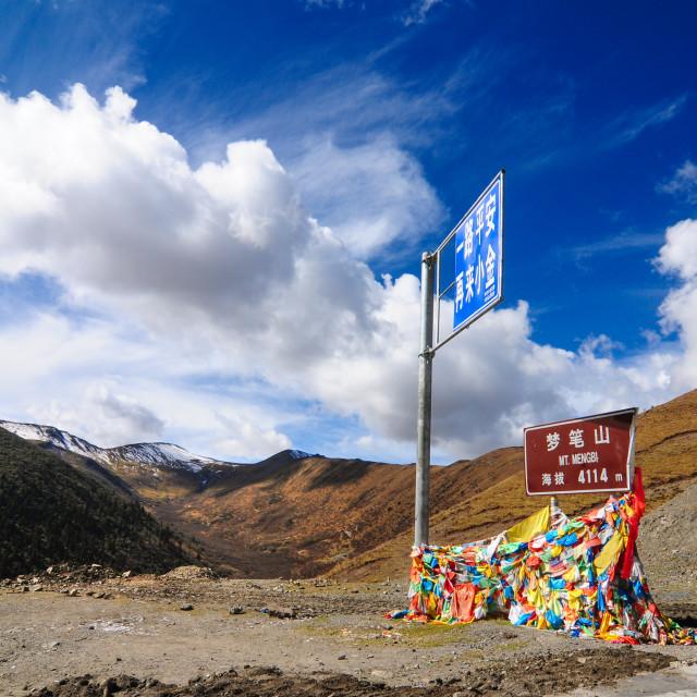 """Tibetan Plateau scene-mountain pass"" stock image"